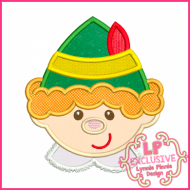 Smiling Elf Boy Applique 4x4 5x7 6x10 7x11 SVG