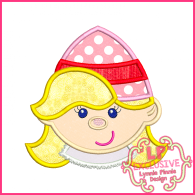 Smiling Elf Girl Applique 4x4 5x7 6x10 7x11 SVG