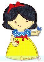 Cutie Princess White as Snow Applique 4x4 5x7 6x10