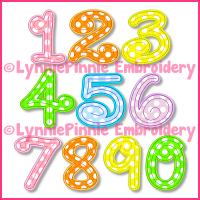 Stitchy Swirl Applique Embroidery Number SET -- 4 sizes + BX -- Perfect Girly Birthday Numbers!