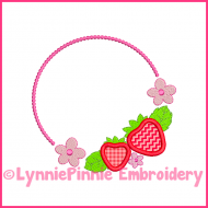 Sweet Strawberry Frame Applique Design 4x4 5x7 6x10 7x11