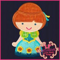 Sunflower Princess Cutie Applique 4x4 5x7 x610 7x11 SVG