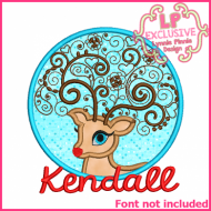 Swirly Reindeer Circle Applique 4x4 5x7 6x10 7x11 SVG