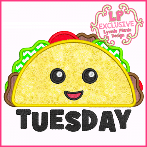Taco Tuesday Applique Embroidery Design 4x4 5x7 6x10 7x11