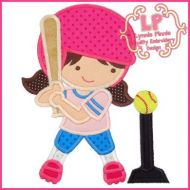 T-Ball Girl Applique 4x4 5x7 6x10 SVG