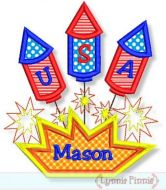 USA Fireworks Trio Applique 4x4 5x7 6x10