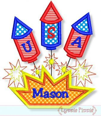 USA Fireworks Trio Applique 4x4 5x7 6x10
