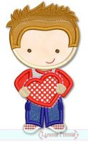 Valentine Cutie Boy Applique 4x4 5x7 6x10 SVG