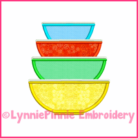 Vintage Kitchen Bowls 5 Applique Design 4x4 5x7 6x10