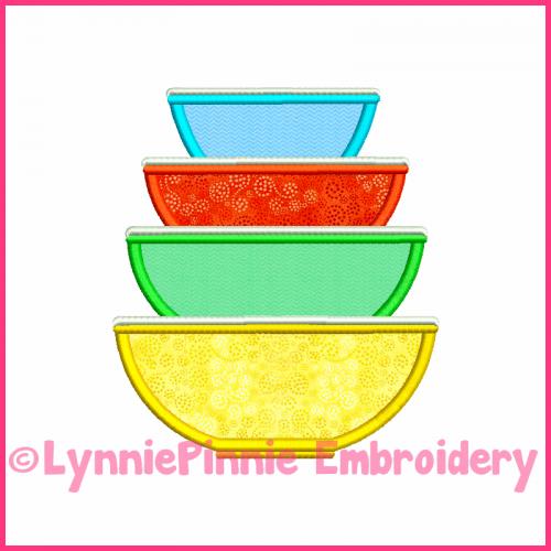 Vintage Kitchen Bowls 5 Applique Design 4x4 5x7 6x10