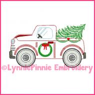 ColorWork Vintage Winter Truck with Christmas Tree  Embroidery Design 4x4 5x7 6x10 7x11