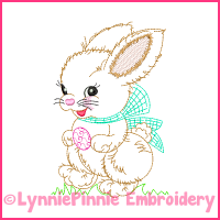 Vintage Easter Bunny Colorwork Sketch Embroidery Design 4x4 5x7 6x10