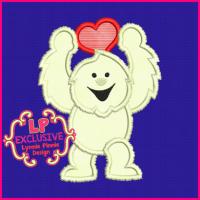 Yeti with Heart Applique 4x4 5x7 6x10