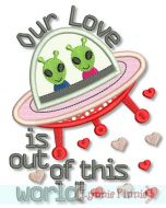 Alien Valentine Applique 4x4 5x7 6x10 - optional vinyl