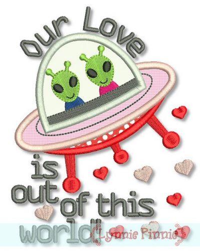 Alien Valentine Applique 4x4 5x7 6x10 - optional vinyl