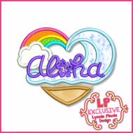 Aloha Heart Applique 4x4 5x7 6x10 7x11 SVG