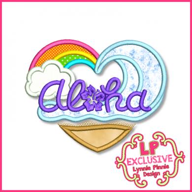 Aloha Heart Applique 4x4 5x7 6x10 7x11 SVG