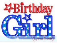 All American Birthday Girl Star Applique Embroidery Design 3 5x7 6x10 7x11 SVG