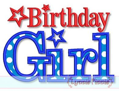 All American Birthday Girl Star Applique Embroidery Design 3 5x7