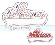 All American Sports Tail Applique 4x4 5x7 6x10 SVG