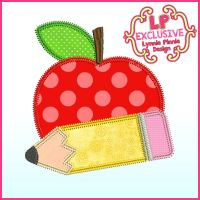 Triple Zig Zag Applique Apple with Pencil Machine Embroidery Design File 4x4 5x7 6x10