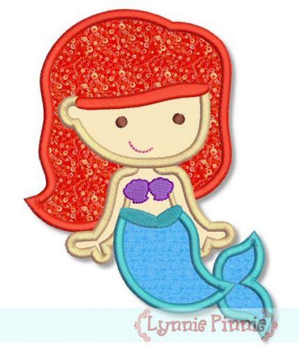 Cutie Princess as Little Mermaid Applique 4x4 5x7 6x10