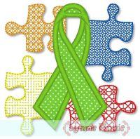 Autism Awareness Ribbon and Puzzle Pieces Applique 4x4
