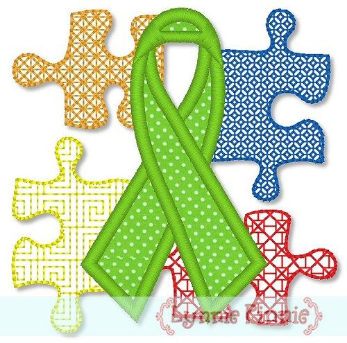Autism Awareness Ribbon and Puzzle Pieces Applique 4x4