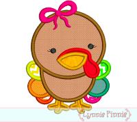 Baby Turkey Girl Applique 4x4 5x7 6x10
