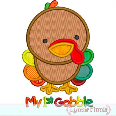 My First Gobble Baby Turkey Applique 4x4 5x7 6x10