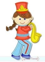 Band Girl Applique 4x4 5x7 6x10 SVG