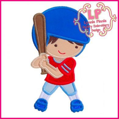 Baseball Boy Applique 4x4 5x7 6x10 SVG
