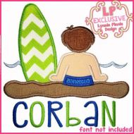 Beach Surf Boy Applique 4x4 5x7 6x10 SVG