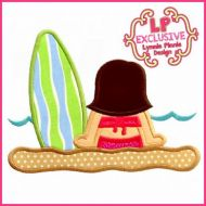 Beach Surf Girl 2 Applique 4x4 5x7 6x10 SVG