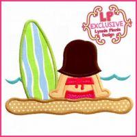 Beach Surf Girl 2 Applique 4x4 5x7 6x10 SVG