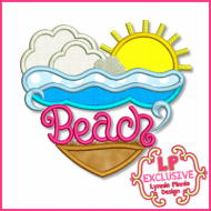Beach Heart Applique 4x4 5x7 6x10 7x11 SVG