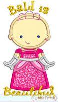 Bald is Beautiful Princess Applique St. Jude 4x4 5x7 6x10