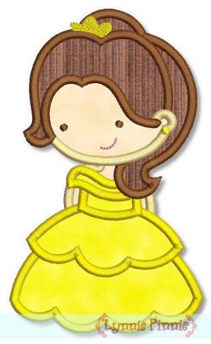 Cutie Princess as Belle the Beauty Applique 4x4 5x7 6x10