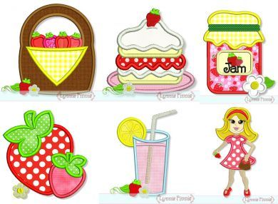 Strawberry Farm Applique Set 4x4 5x7 6x10