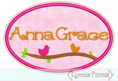 Oval Birds Applique Monogram Name Frame 4x4 5x7 6x10 7x11