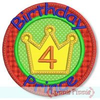 Birthday Prince Applique Set 4x4 5x7