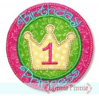 Birthday Princess Applique Set 4x4 5x7