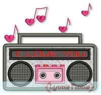 I LOVE YOU BoomBox Applique 4x4 5x7