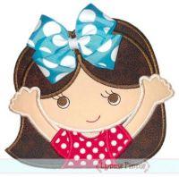 Bow Girl 1 Applique 4x4 5x7 6x10 7x11 SVG