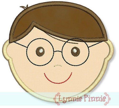 Little Faces - Boy 1 with Glasses Applique 4x4 5x7 6x10