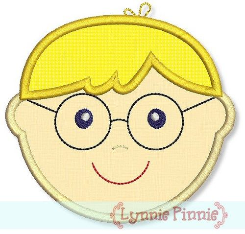Little Faces - Boy 2 with Glasses Applique 4x4 5x7 6x10