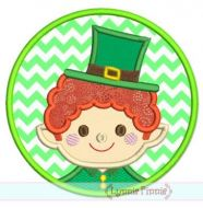 Leprechaun Boy Circle Patch Applique 4x4 5x7 6x10 7x11 SVG