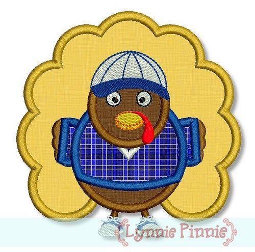 Boy Turkey Applique 4x4 5x7 6x10