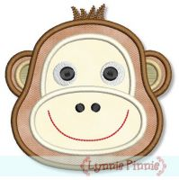 Boy Monkey Face Applique 4x4 5x7 6x10