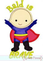 Bald is Brave Superhero Applique St. Jude 4x4 5x7 6x10